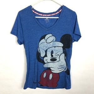Disneyland Blue Mickey Mouse Short Sleeve L